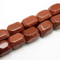 goldstone synthétique brins de perles, facettes, colonne, 20~22x15~17x15 mm, trou: 1.8~3 mm; environ 19 perle / brin, 15.35(G-L174-08B)