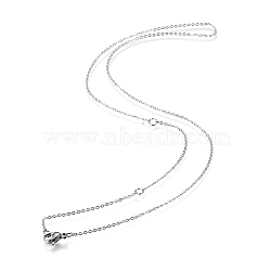 304 Stainless Steel Necklace Making, Cable Chains, with Lobster Clasps, Stainless Steel Color, 18.5 inches(47cm), 1mm, Jump Ring: 4x0.5mm(X-MAK-F033-01P)
