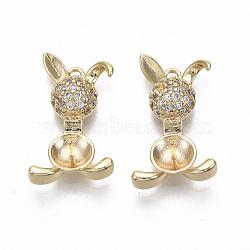 pendentifs en laiton micro zircone peg bails, pour perle à moitié percée, sans nickel, réel 18 k plaqué or, lapin, effacer, 20x12x5 mm, trou: 1.2 mm; broches: 0.7 mm(KK-R132-087-NF)