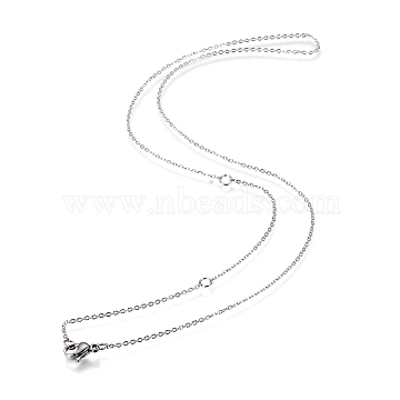 304 Stainless Steel Necklace Making, Cable Chains, with Lobster Clasps, Stainless Steel Color, 18.5inches(47cm); 1mm; Jump Ring: 4x0.5mm(X-MAK-F033-01P)