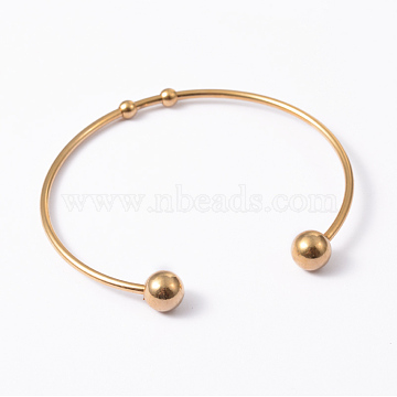 Fashion 304 Stainless Steel Cuff Bangles Torque Bangles, with Soldered Round Beads, Golden, 2 inches~2-1/2 inches(50~65mm)(X-BJEW-H473-01G)