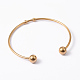 Fashion 304 Stainless Steel Cuff Bangles Torque Bangles(X-BJEW-H473-01G)-1
