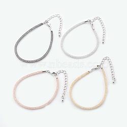"""Bracelets à mailles en laiton, avec perles de verre à l'intérieur et pinces de homard, clair, couleur mixte, 6-7/8"""" (17.6cm) ~ 7-1/4"""" (18.5cm)(BJEW-F358-01)"""