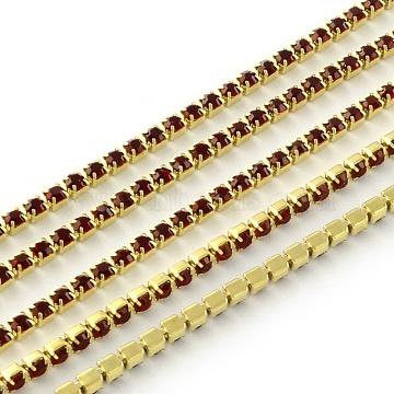 Nickel Free Raw(Unplated) Brass Rhinestone Strass Chains, Rhinestone Cup Chain, 2880pcs rhinestone/bundle, Grade A, Siam, 2.2mm, about 23.62 Feet(7.2m)/bundle(CHC-R119-S6-04C-1)