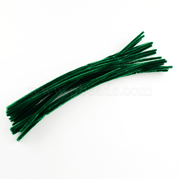 Round Pipe Cleaner Chenille Stick, with Iron Wire, Dark Green, 300x5mm(X-AJEW-S007-04)