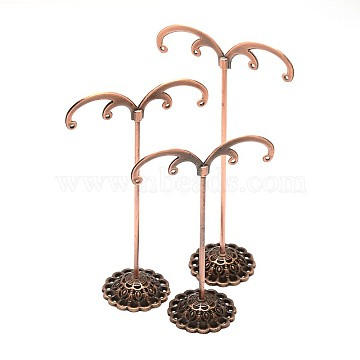 Alloy Pedestal Earring Display Sets, Jewelry Tree Stand, 3 Stands/Set, Red Copper, 10.3~13.7x7x3.4cm; hole: 1mm(EDIS-L001-01)