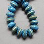 Handmade Porcelain Beads, FancyAntique Glazed Porcelain, Rondelle, SkyBlue, 20x11mm, Hole: 3mm