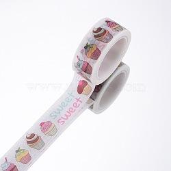 Rubans adhésifs décoratifs pour bricolage, desserts, blanc, 15mm, 5 m / rouleau (5.46 heures / rouleau)(DIY-F016-P-19)