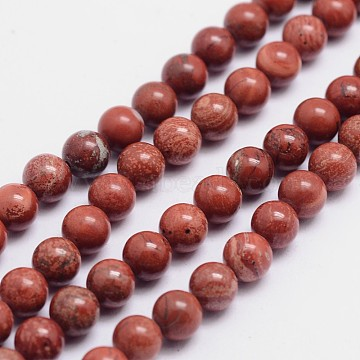 Round Natural Red Jasper Bead Strands, 6mm, Hole: 1mm; about 65pcs/strand, 15.74 inches(G-L419-38-6mm)