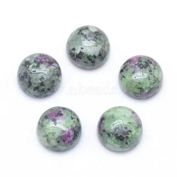 Natural Ruby in Zoisite Cabochons, Flat Round, 8x3~4mm(X-G-E492-H-10)