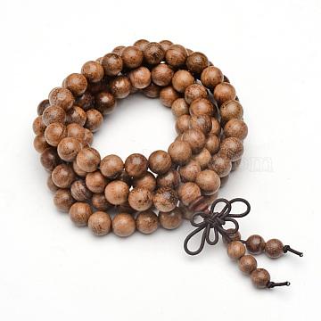 5-Loop Wrap Style Buddhist Jewelry, Wood Mala Bead Bracelets/Necklaces, Round, Camel, 34-5/8 inches(88cm)(X-BJEW-S125-22)