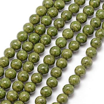 12mm Olive Round Fossil Beads