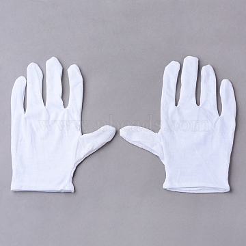 Cotton Gloves, Coin Jewelry Silver Inspection Gloves, White, 210x140mm; 12pairs/bag(AJEW-R061-01)