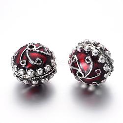 Perles d'émail en alliage, rond, argent antique, DarkRed, 27x24.5mm, Trou: 3mm(PALLOY-I116-52AS-A)