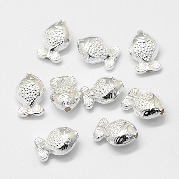 Sterling Silver Beads, Fish, Silver, 12.5x8.7x5.8mm, Hole: 1.3mm(X-STER-G012-04S)