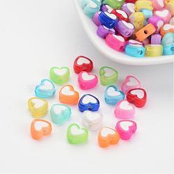 Perles acryliques de coeur transparent, Perle en bourrelet, couleur mixte, 7x8x4mm, Trou: 2mm(X-TACR-S117-M)