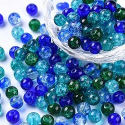 Perles de verre craquelé peintes, océan mix, rond, couleur mixte, 6~6.5x5.5~6mm, trou: 1 mm; environ 200 PCs / sachet (DGLA-X0006-6mm-01)