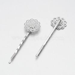 Accessoires de cheveux constatations de bobby pin de cheveux de fer, avec les supports de lunette filigrane fleur pour cabochon, platine, plateau: 17 mm; 61x17x5 mm(MAK-J007-42P)