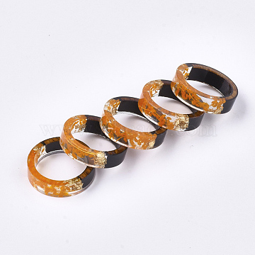 Epoxy Resin & Ebony Wood  Rings, with Dried Flower, Gold Foil, Orange, 19mm(RJEW-S043-02D-01)
