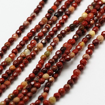 Natural Red Rainbow Jasper Faceted Round Beads Strands, 3mm, Hole: 0.8mm; about 136pcs/strand, 16inches(G-A129-3mm-16)