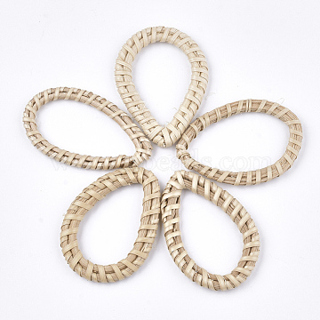 48mm AntiqueWhite Drop Rattan Linking Rings