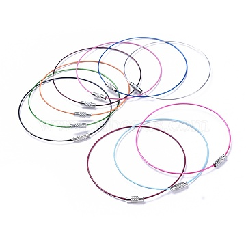 Steel Wire Bracelet Making, with Alloy Clasp, Mixed Color, Size: about 1mm thick, 72mm inner diameter(X-TWIR-A001-M)
