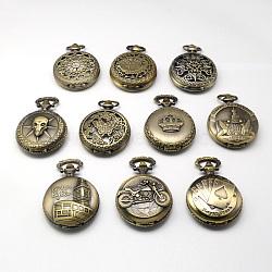 Vintage rondes alliage de zinc cadrans plats montre à quartz pour création de montre de poche collier pendentif , mixedstyle, bronze antique, 59x46x14~17mm, Trou: 15~16x4~5mm(WACH-R005-M01)