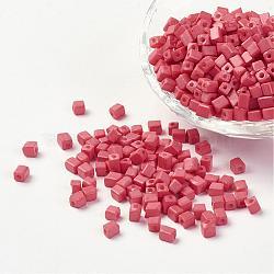cube couleurs opaque verre perles de rocaille, trou rond, lightcoral, 3~7x3~4x3~4 mm, trou: 0.5 mm; environ 4500 PCs / sachet , 440~450 g / sac(SEED-R026-A14)