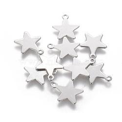 304 Stainless Steel Charms, Star, Stainless Steel Color, 15x12.5~13x0.5mm, Hole: 1.4mm