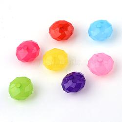 imitation perles acryliques de gelée, baril, facettes, couleur mélangée, 10x6 mm, trou: 1.5 mm(X-JACR-Q014-M)