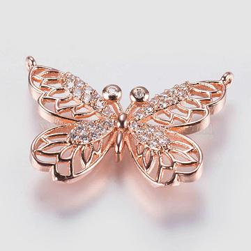 Rose Gold Clear Butterfly Brass+Cubic Zirconia Pendants