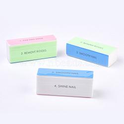 Fichier de poli à quatre côtés, bâton de brunissage, tampon à ongles de papier de verre, rectangle, couleur aléatoire simple ou couleur mélangée aléatoire, 9x3.5x2.5 cm(MRMJ-E005-02)