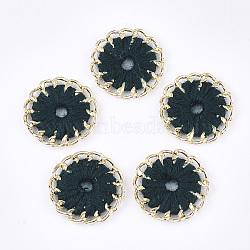 тканые подвески из ниток, сплава с выводами, плоские круглые, золотой, darkslategray, 27~27.5x3~4 mm, отверстия: 3~5 mm(FIND-S306-11B)