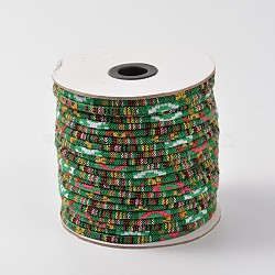 Cordes ethniques en tissu, verte, 6 mm; environ 50 mètres / rouleau(OCOR-F003-6mm-06)