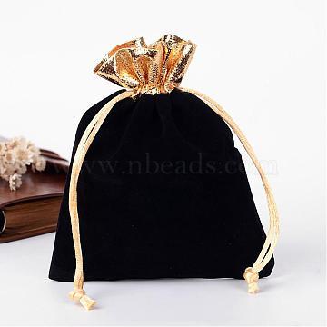 Rectangle Velvet Jewelry Bag, Black, 14x11cm(TP-R001-12x15-01)