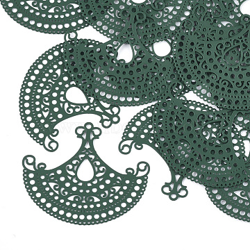 430 Stainless Steel Filigree Joiners Links, Spray Painted, Etched Metal Embellishments, Fan, Green, 35x42x0.3mm, Hole: 0.6~1.5mm(X-STAS-T042-05B)