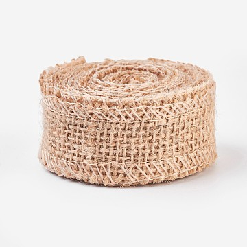 Linen Rolls, Jute Ribbons For Craft Making, BurlyWood, 2.5cm(OCOR-WH0027-A-01)