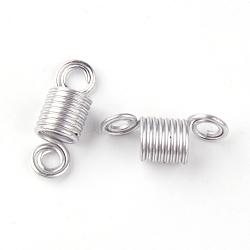 Aluminum Wire Hair Coil Cuffs, Dread Cuff Coil, Eight Loops, Silver, 22~23x8mm, Hole: 3mm(ALUM-S012-01)
