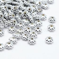 Perles en plastique environnemental plaqué, fleur, argenterie, 6x3mm, trou: 1 mm; environ 6200 pcs / 500 g(KY-K002-10S)