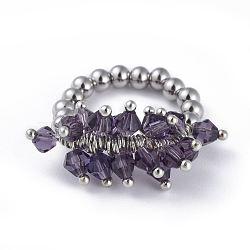 304 bagues élastiques en acier inoxydable, avec perle de verre galvanisée et goupilles en laiton, violet, taille 8, 18mm(RJEW-JR00261-09)