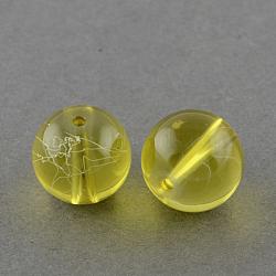 """Chapelets de perles en verre transparent drawbench, peint à la bombe, rond, verge d'or, 6 mm; trou: 1.3~1.6 mm, 31.4""""(GLAD-Q012-6mm-06)"""