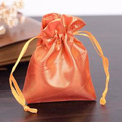 Sacs en tissu rectangle, avec cordon de serrage, orange foncé, 9x6.5 cm(X-ABAG-R007-9x7-07)