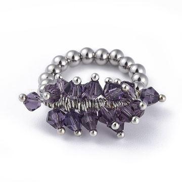 Purple Stainless Steel Finger Rings