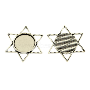 Tibetan Style Alloy Cabochon Connector Settings, Star with Flat Round Tray, Cadmium Free & Lead Free, Antique Silver, 40x35x3mm, Hole: 5mm; Tray: 20mm(X-TIBE-5326-AS-LF)