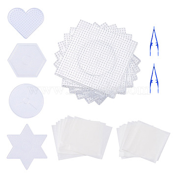 ABC Plastic Pegboards used for 5x5mm DIY Fuse Beads, with Ironing Paper and Plastic Fuse Bead Tweezers, Mixed Shapes, Clear(DIY-X0293-85)
