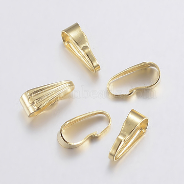 304 Stainless Steel Snap on Bails, Golden, 8.5x3.5x4mm; Inner: 3x8mm(STAS-F155-27G)