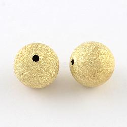 Perles en laiton texturées, rond, or clair, 8mm, Trou: 1.5mm(KK-R012-8mm-G)