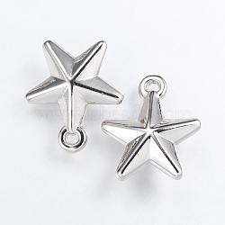Пластиковый кулон ccb, звезда, платина, 23x20.5x7 мм, отверстие : 2.5 мм(CCB-K007-048P)