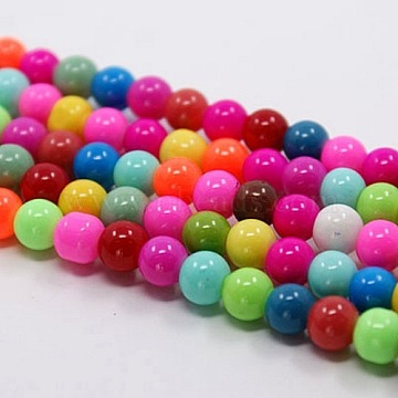 Baking Paint Glass Beads Strands,  Round, Mixed Color, 8mm, Hole: 1mm; about 55pcs/strand, 16 inches(X-DGLA-MSMC001-11)