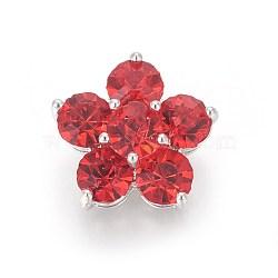 Boutons à queue en laiton, avec zircons, fleur, platine, rouge, 16.8x17.5x9mm, Trou: 1.6mm(BUTT-L022-01P)